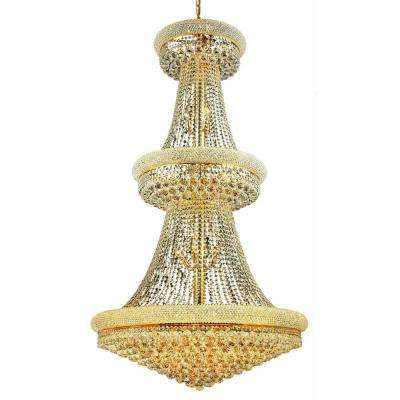 32-Light Gold Chandelier with Crystal Clear
