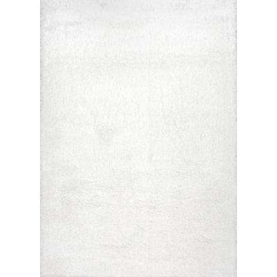 Gynel Cloudy Shag Snow White 3 ft. x 5 ft. Area Rug