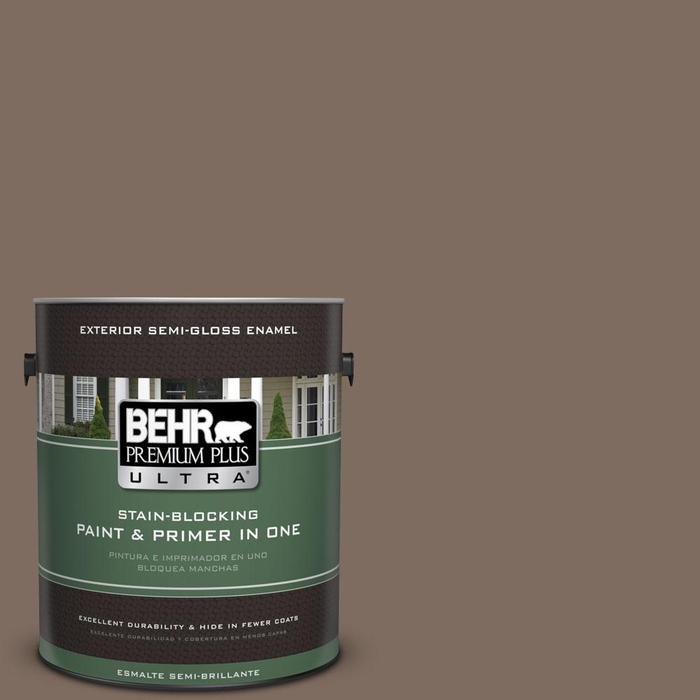 BEHR Premium Plus Ultra 1-gal. #PPU5-3 Antique Earth Semi-Gloss Enamel Exterior Paint