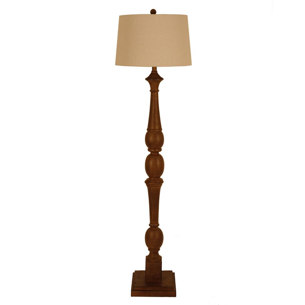 Crossmill 61.25 in. Bronze Floor Lamp with Linen Shade