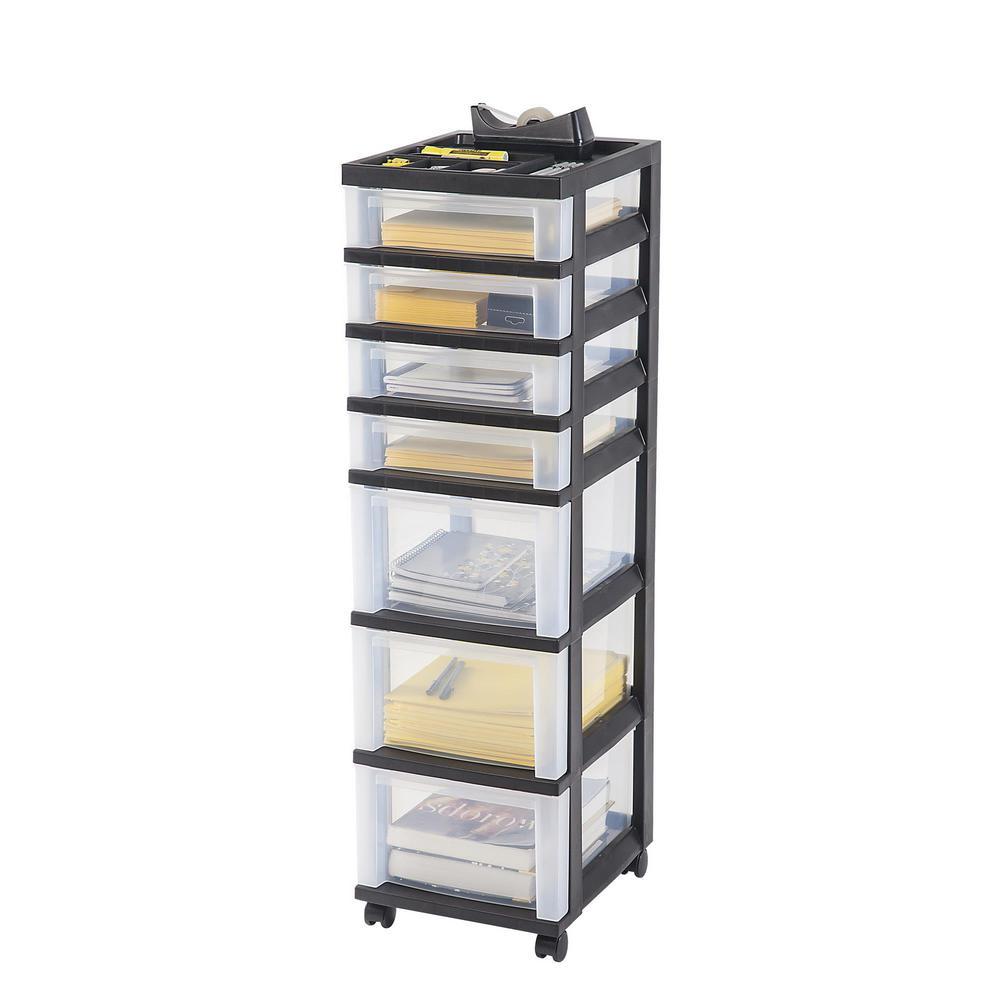108 Qt. 7-Drawer Storage Bin in Black