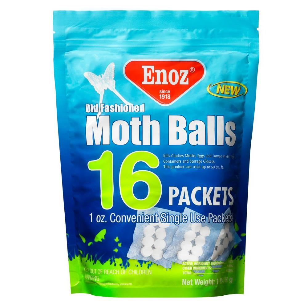 Enoz 16 oz  Old Fashioned Moth Ball Packets Re-Sealable Bag