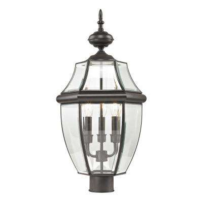Ashford 3-Light Oil Rubbed Bronze Outdoor Post Lantern