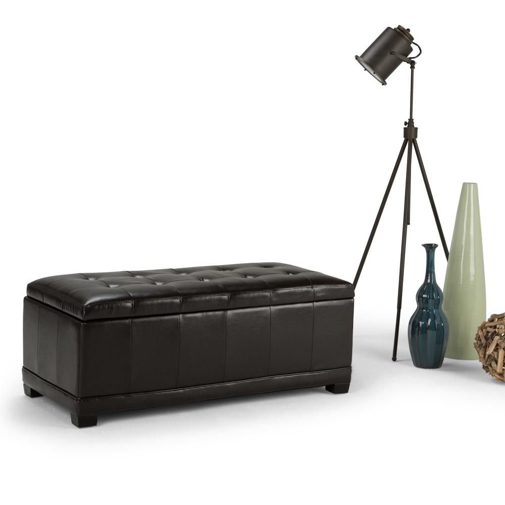 Simpli Home Westchester Tanners Brown Storage Bench 3axcot 246 Br The Home Depot