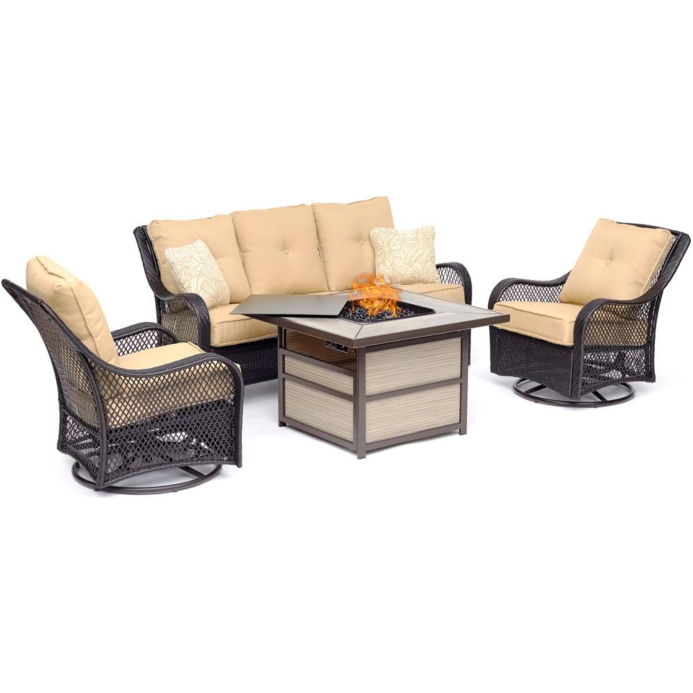 Hanover Orleans 4-Piece Wicker Patio Seating Set with Fire Pit Table with Sahara Sand Cushions