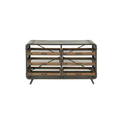 Black Iron Console Table with Brown Riveted Trays