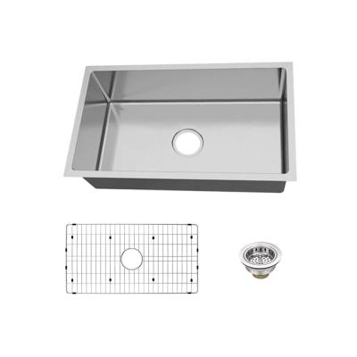 Undermount 18-Gauge Stainless Steel 31 in. 0-Hole Single Bowl Kitchen Sink with Grid and Drain Assembly