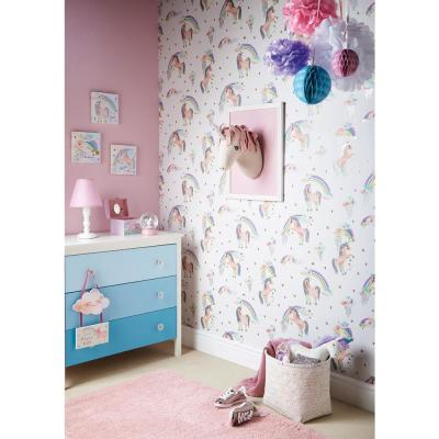 Rainbow Unicorn White Paper Strippable Wallpaper (Covers 57.26 sq. ft.)
