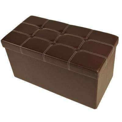 Brown Faux Leather Cube Collapsible Tufted Storage Ottoman