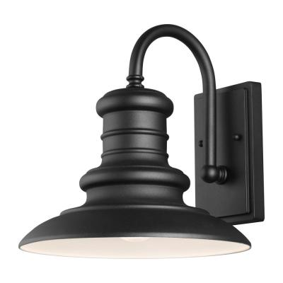 Redding Station 12 in. 1-Light Textured Black Outdoor 12.5 in. Wall Lantern Sconce