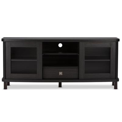 Walda 59 in. Dark Brown Wood TV Stand with 1 Drawer Fits TVs Up to 64 in. with Storage Doors