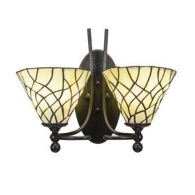 2-Light Dark Granite Sconce with Sandhill Tiffany-Style Glass