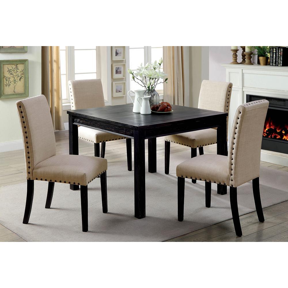 Kristie Antique Black Rustic Style Dining Table Set (5-Piece)