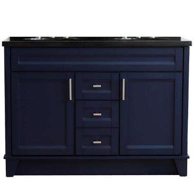 49 in. W x 22 in. D Double Bath Vanity in Blue with Granite Vanity Top in Black Galaxy with White Oval Basins