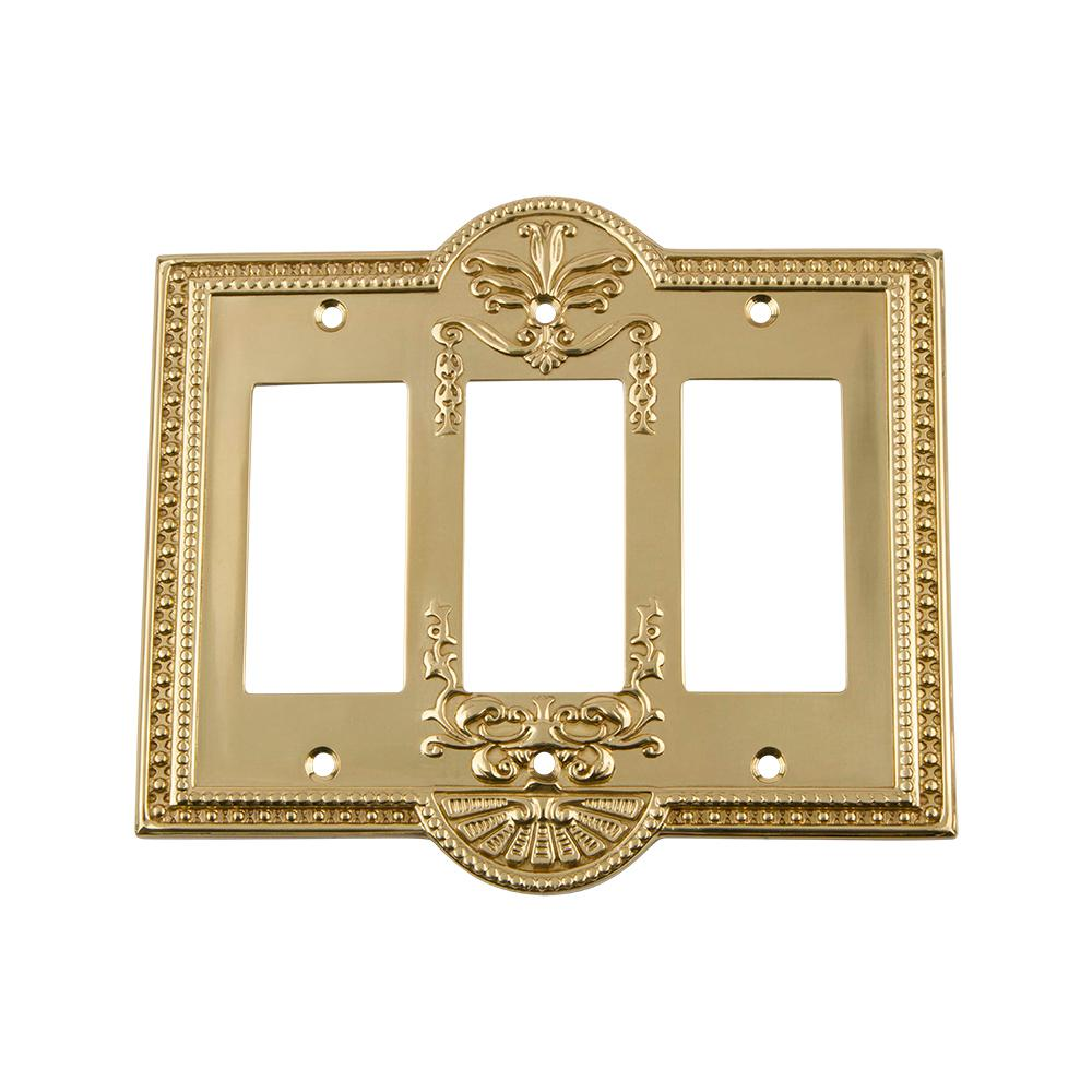 Meadows Switch Plate with Triple Rocker in Unlacquered Brass