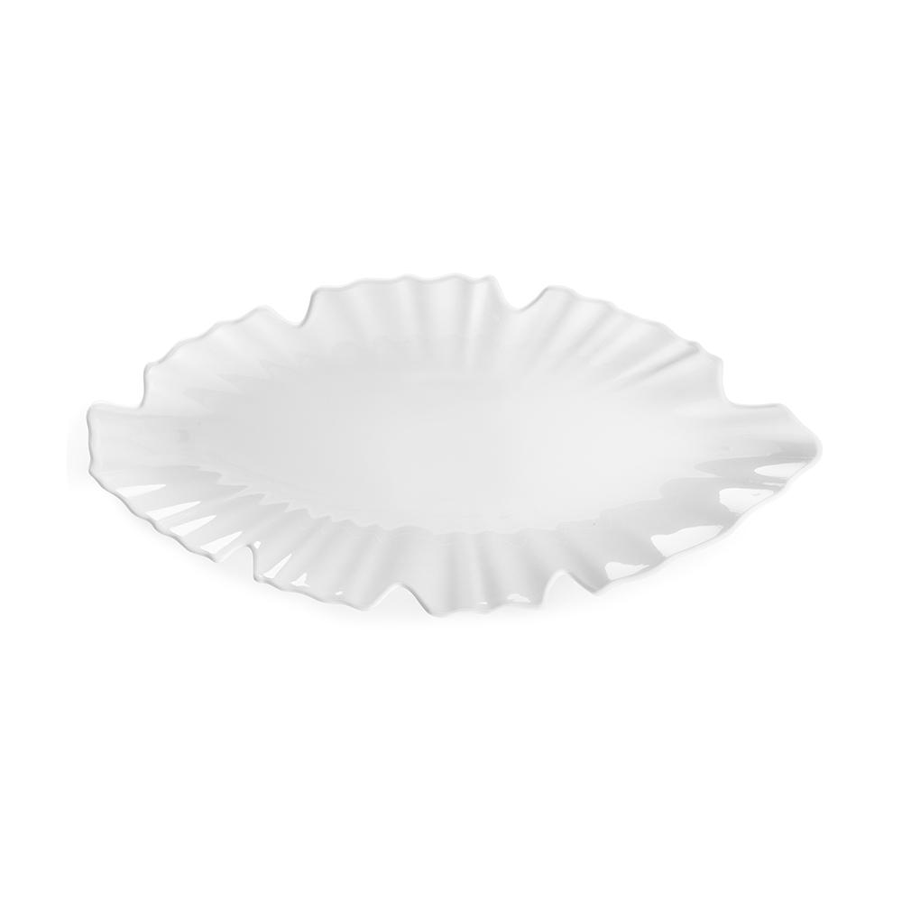 Zen 16 in. x 7 in. Melamine Serving Platter in White