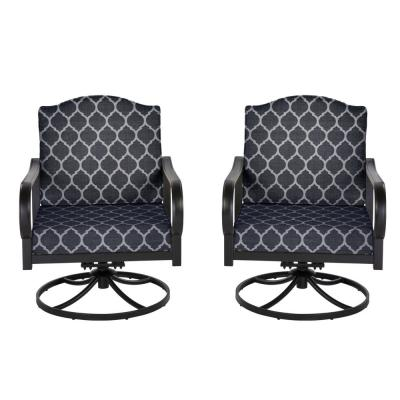 Laurel Oaks Brown Steel Outdoor Patio Lounge Chair with Cushion Guard Midnight Trellis Navy Blue Cushions (2-Pack)