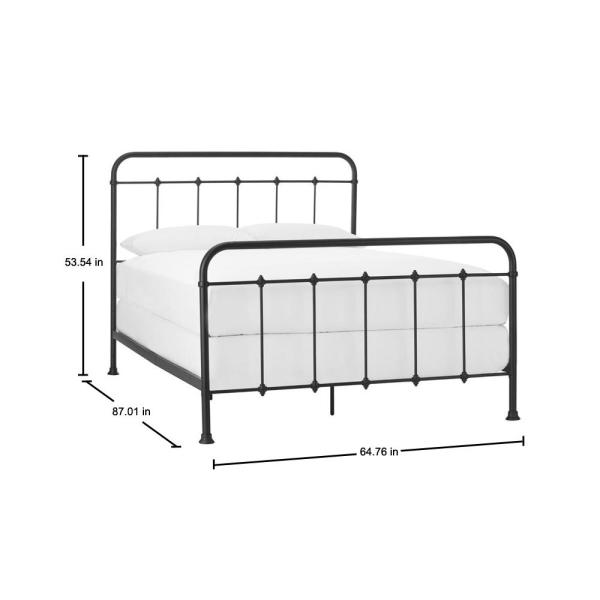 Stylewell Dorley Farmhouse Black Metal, White Brass Queen Bed