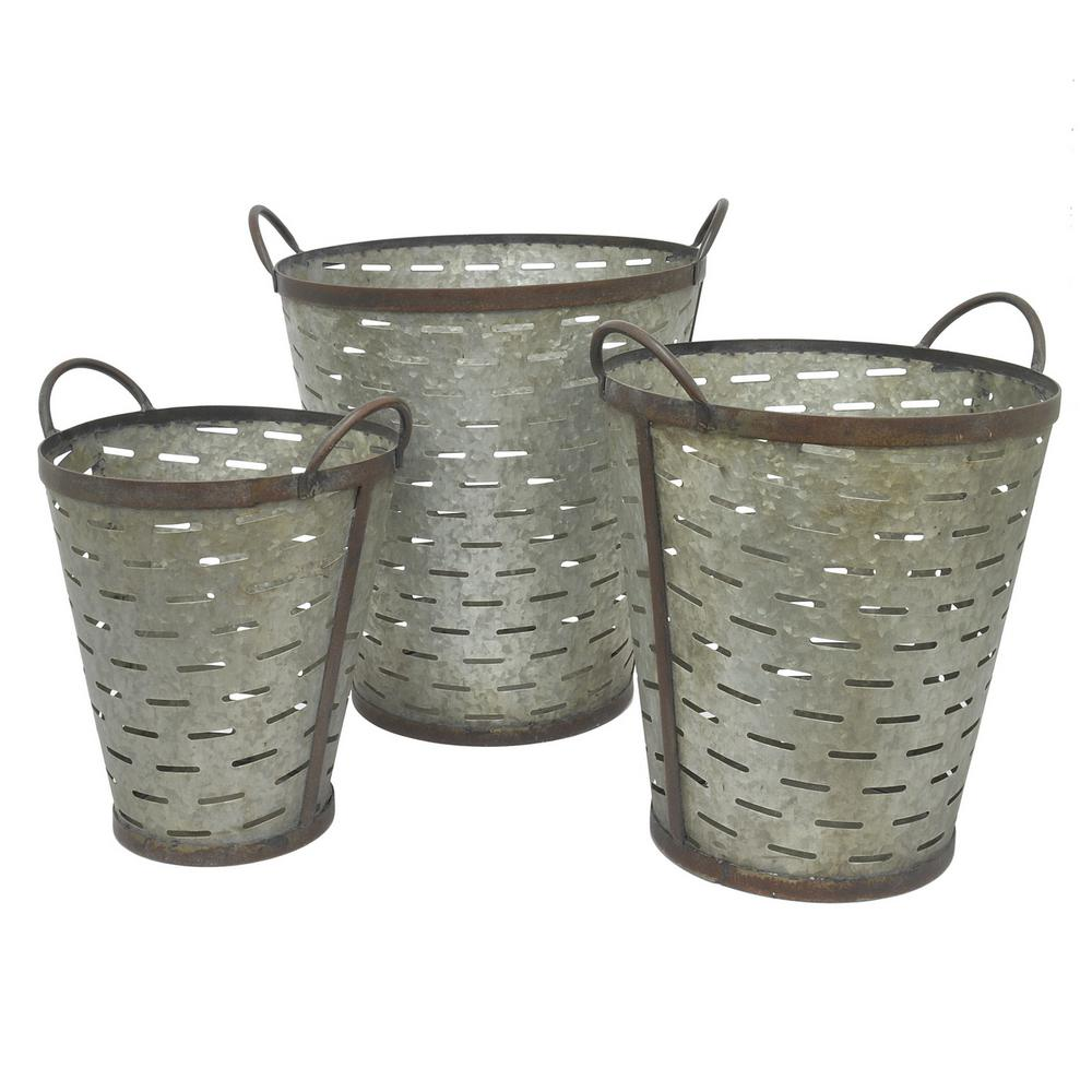 15 in. x 14 in. Metal Buckets in Gray (Set of