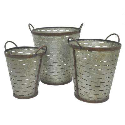 15 in. x 14 in. Metal Buckets in Gray (Set of 3)