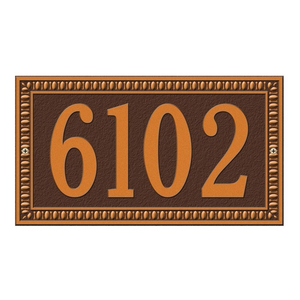 Egg and Dart Rectangular Antique Copper Standard Wall One Line Address