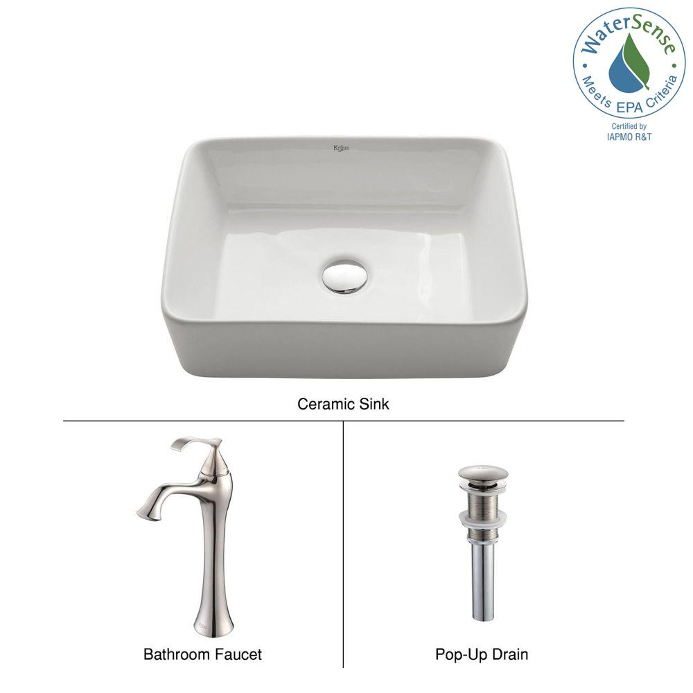 Rectangular Ceramic Vessel Sink in White with Ventus Faucet in Brushed