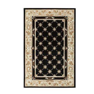 Churchill Black with Design 4 ft. x 6 ft. Area Rug