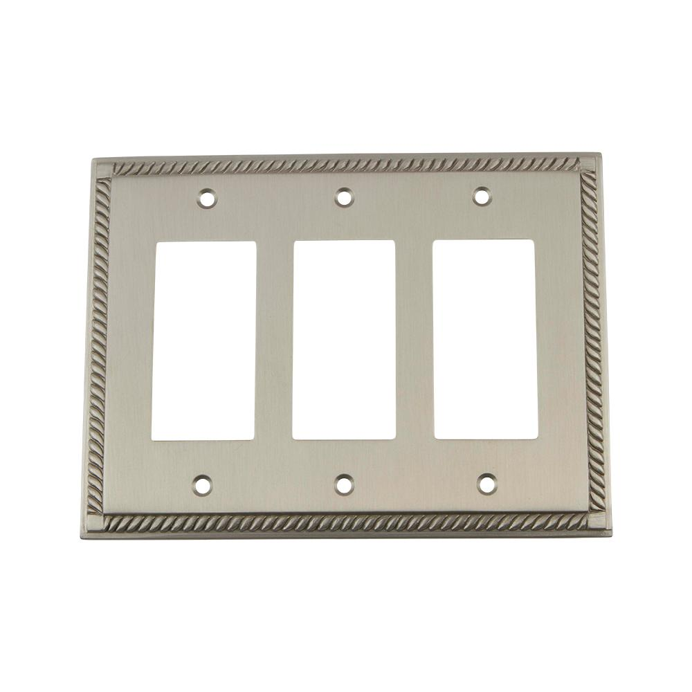 Rope Switch Plate with Triple Rocker in Satin Nickel