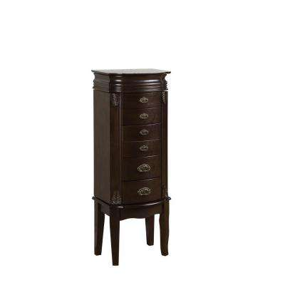 Italian Influenced Espresso Jewelry Armoire
