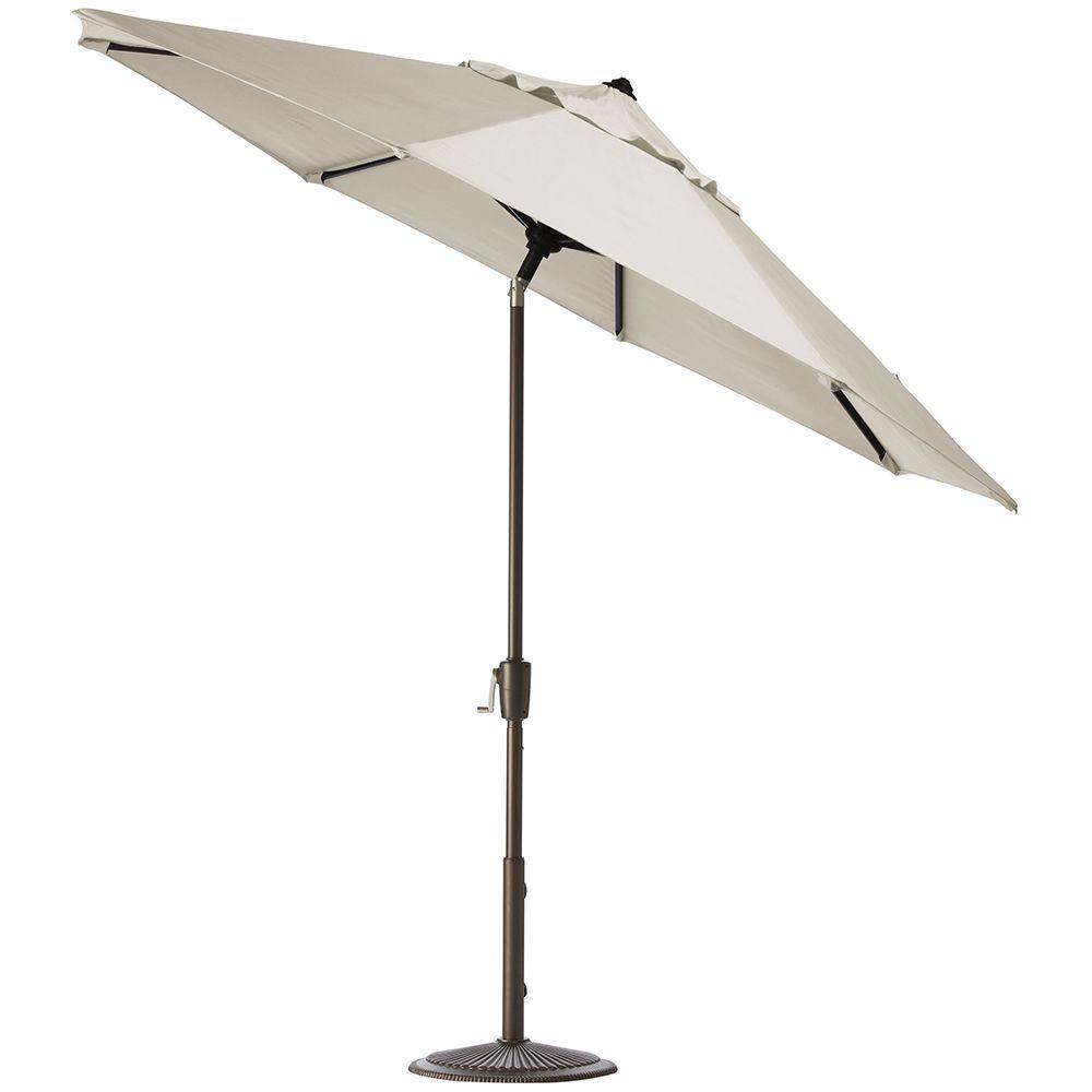Home Decorators Collection 11 ft. Auto-Tilt Patio Umbrella in Canvas Sunbrella with Bronze Frame