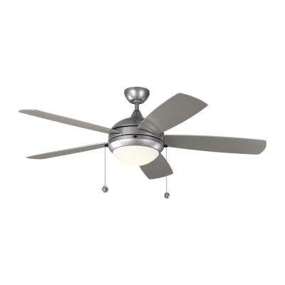 Discus Outdoor 52 in. LED Indoor/Outdoor Painted Brushed Steel Ceiling Fan