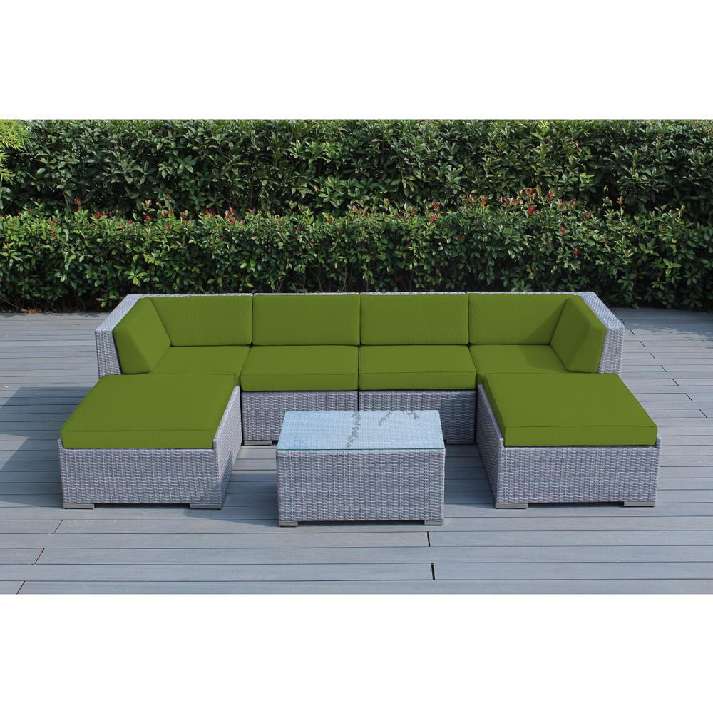 Ohana Gray 7-Piece Wicker Patio Seating Set with Sunbrella Macaw Cushions