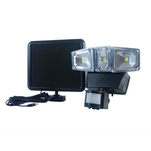 Triple COBBlackOutdoor Solar Motion Activated SecurityFloodLight with Integrated LED
