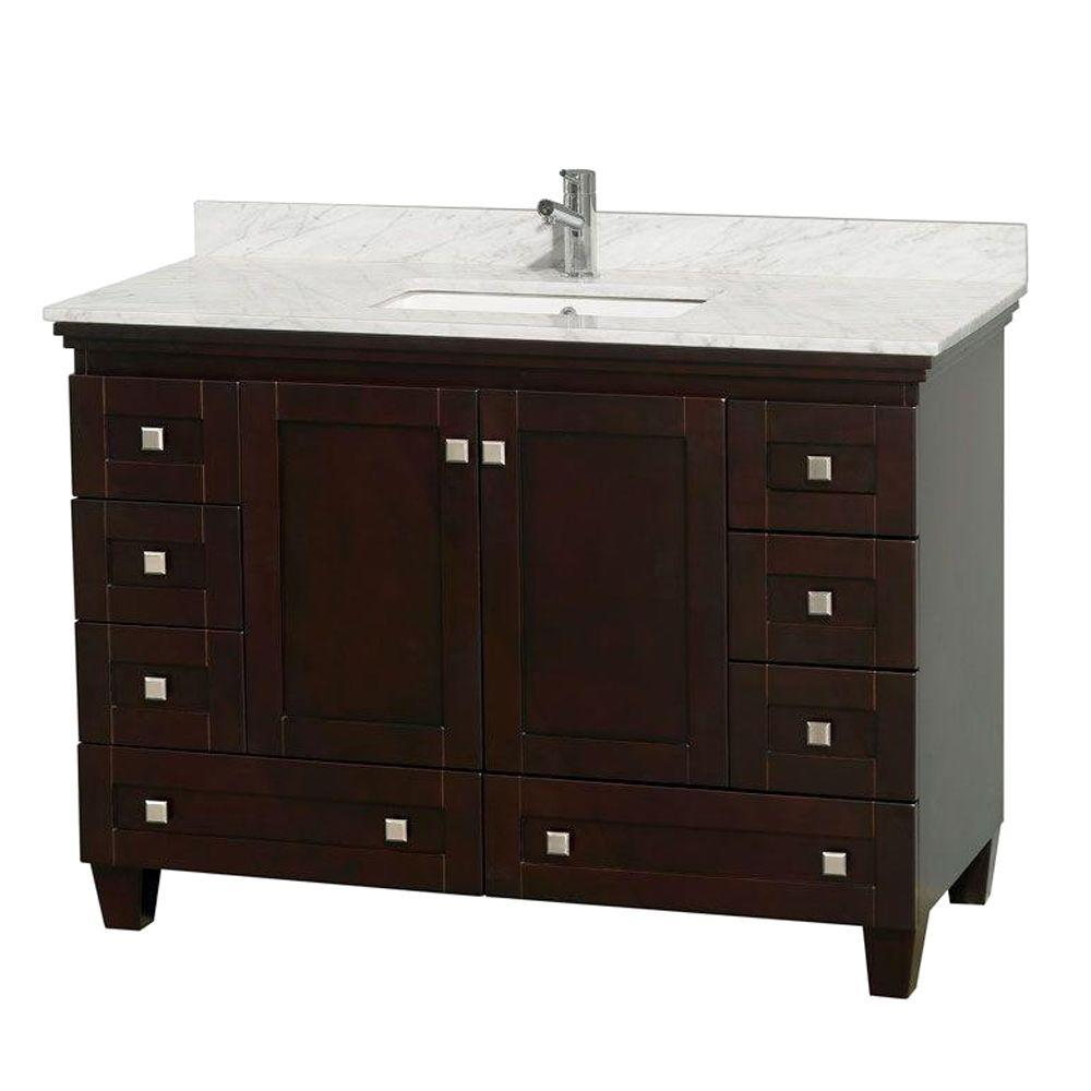 Wyndham Collection Acclaim 48 in. Vanity in Espresso with Marble Vanity Top in Carrara White and Square Sink