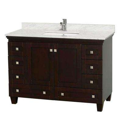 Acclaim 48 in. Vanity in Espresso with Marble Vanity Top in Carrara White and Square Sink