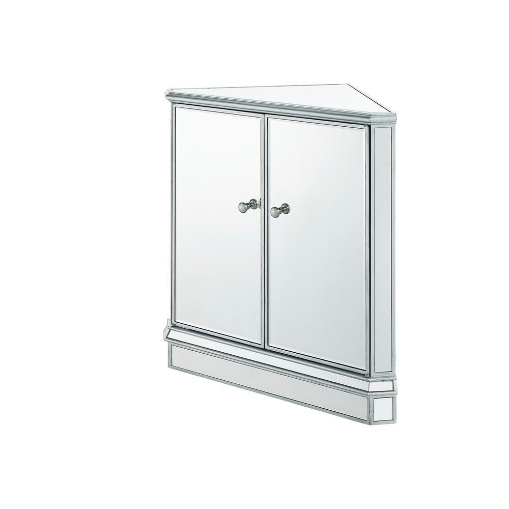 1 Shelf 2 Doors Antique Silver Paint Finish Mirror Chest