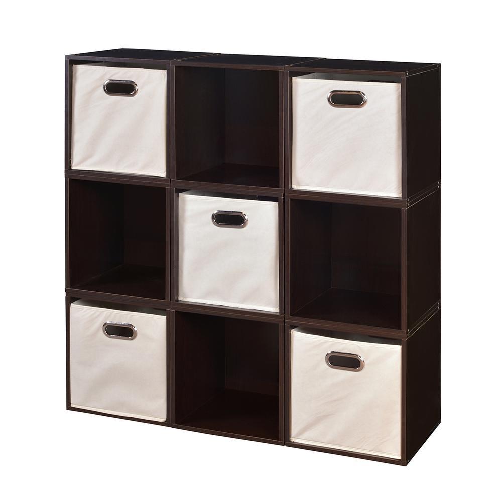 Cubo 39 in. H x 39 in. W Truffle/Natural 9-Cube and 5-Bin Organizer