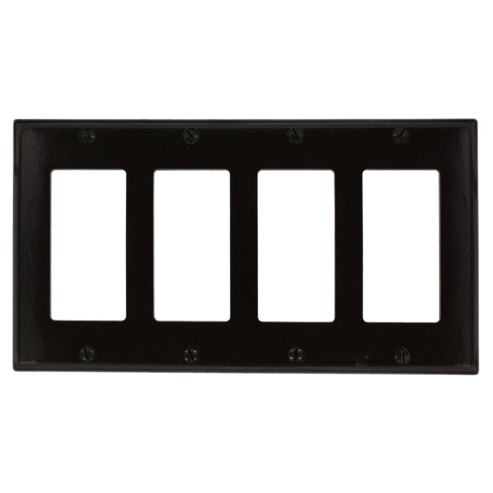 Leviton 4 Gang Decora Wall Plate Brown 80412 The Home Depot