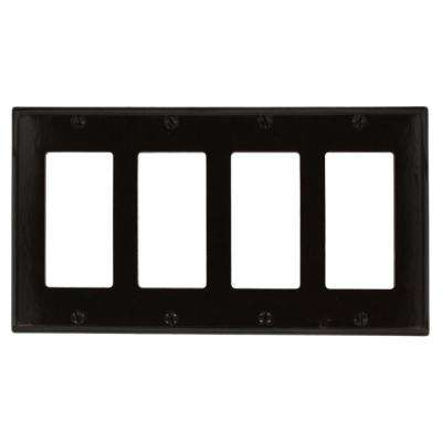 4-Gang Decora Wall Plate, Brown