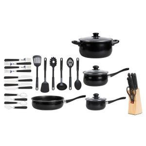 Click here to buy Gibson Home 32-Piece Non Stick Cookware Set in Black by Gibson.