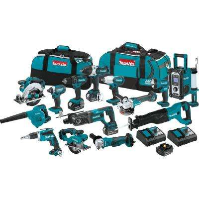 18-Volt LXT Lithium-ion Cordless 15-Piece Combo Kit with (4) Batteries 3.0Ah, Charger and (2) Bags