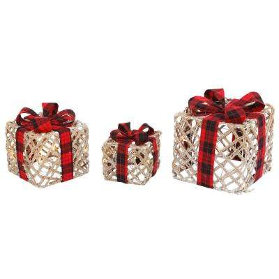 S/3 11.25 in. H Lighted Filigree Holiday Gift Boxes with Bows