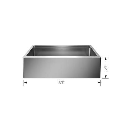 QUATRUS R15 ERGON Farmhouse Apron-Front Stainless Steel 33 in. Single Bowl Kitchen Sink with Wood Cutting Board