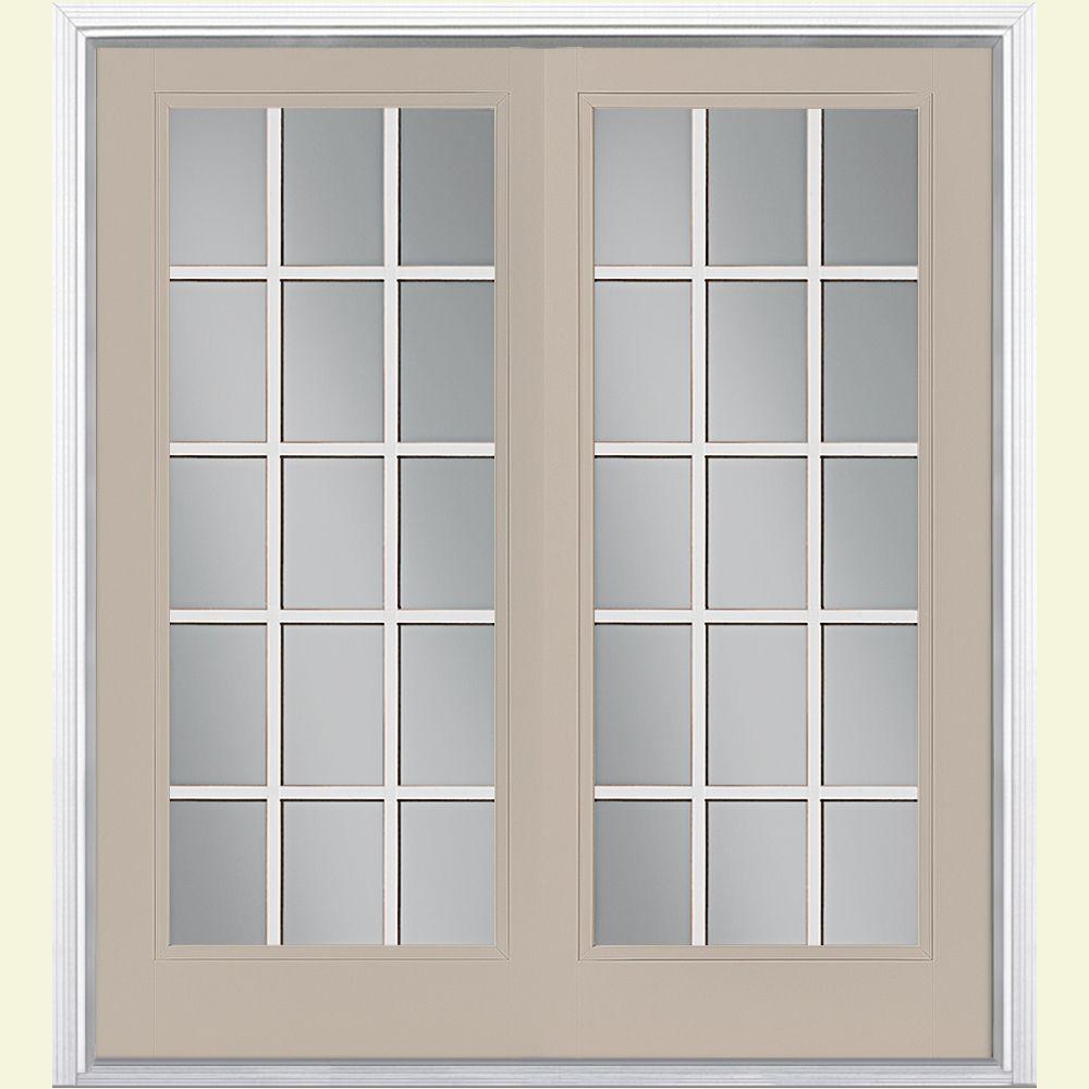 72 in. x 80 in. Canyon View Prehung Left-Hand Inswing 15 Lite Steel Patio Door with Brickmold
