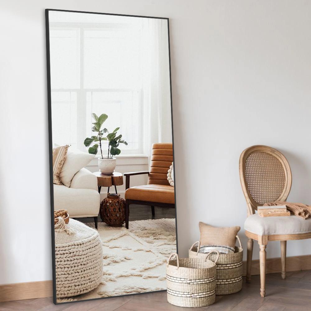 Large Full length Metal Framed Black Floor Mirror (71 in.x 23.6in.)