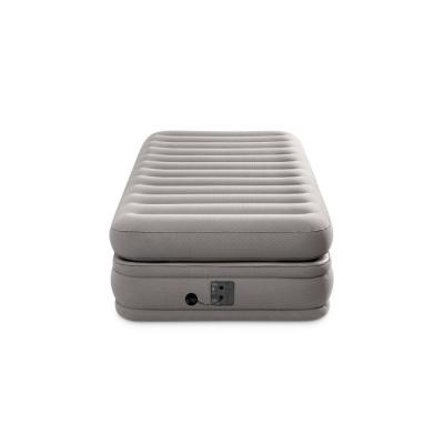 Prime Comfort Elevated Twin Air Mattress with Built-in Pump in Gray