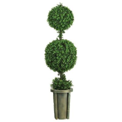 Indoor and Outdoor 5 ft. Double Ball Leucodendron Topiary with Decorative Vase