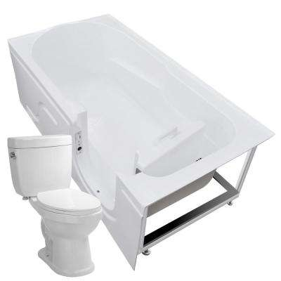 Step-In 59.6 in. Walk-In Non-Whirlpool Bathtub in White with 1.6 GPF Single Flush Toilet