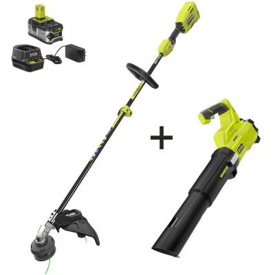 ONE+ 18-Volt Cordless Attachment Capable Brushless String Trimmer and Leaf Blower, 4.0 Ah Battery and Charger Included