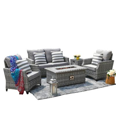 DIRECT WICKER Maxwell 5-Piece Aluminum Wicker Patio Gas Fire Pit Conversation Set with Gray Cushions